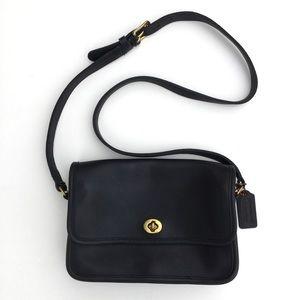 Vintage Coach Genuine Leather Crossbody Bag Blue